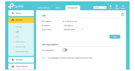 tp link archer router set the lan ip how to